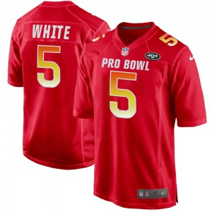 Nike Mike White New York Jets Men's Game White AFC Red 2019 Pro Bowl Jersey